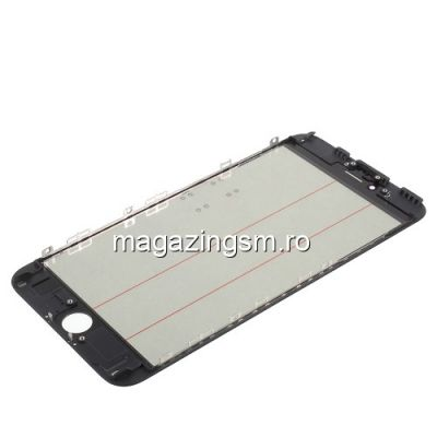Geam iPhone 6s Plus Cu Rama si Adeziv Sticker Negru