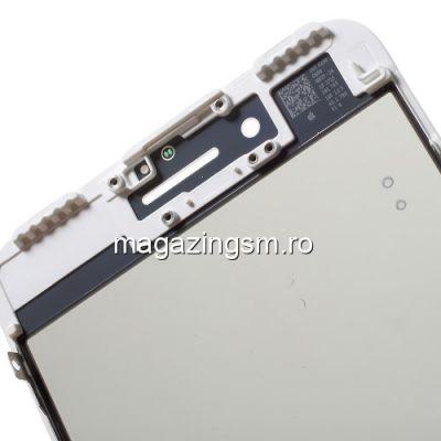 Geam iPhone 7 Plus Cu Rama si Adeziv Sticker Alb