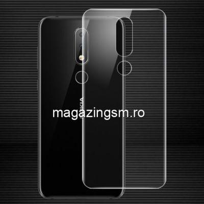 Geam Protectie Capac Baterie Spate Nokia 6,1 Plus Acoperire Completa Transparent