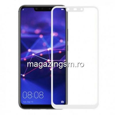 Geam Protectie Display Huawei Mate 20 Lite Acoperire Completa 6D Alb