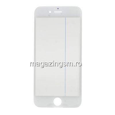 Geam Sticla iPhone 6s Cu Rama si Adeziv Sticker Alb