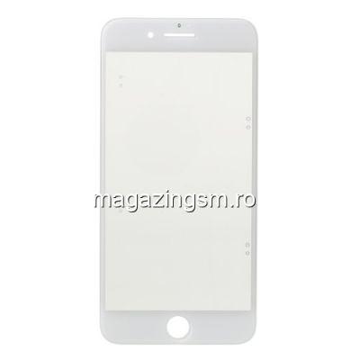Geam Sticla iPhone 7 Cu Rama si Adeziv Sticker Alb