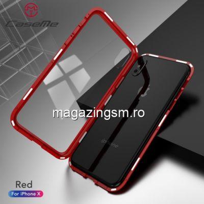 Husa 2 in 1 iPhone X Acoperire Completa 360 De Grade Rosie