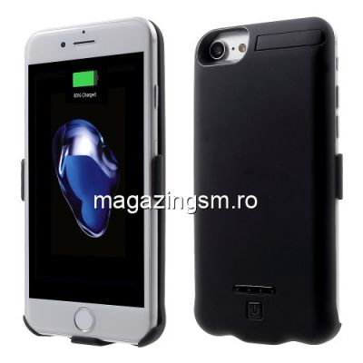 Husa Acumulator Extern Power Bank iPhone 7 Cu Stand Neagra