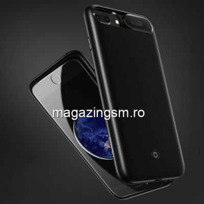 Husa Acumulator Extern Power Bank iPhone 8 / 7 / 6s / 6 Cu Stand Neagra