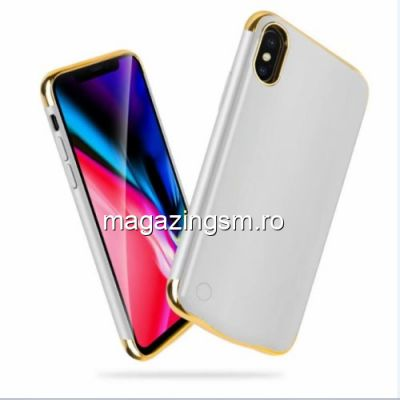 Husa Acumulator Extern Power Bank iPhone X 5000mAh Argintie
