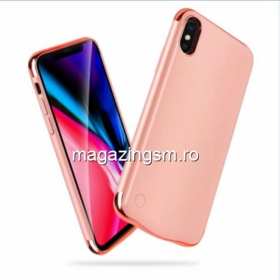 Husa Acumulator Extern Power Bank iPhone X 5000mAh Roz Aurie