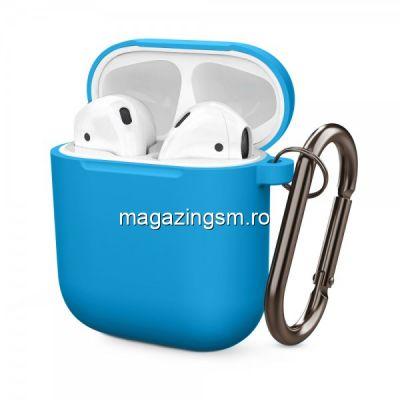 Husa Carcasa Casti Apple AirPods Albastra