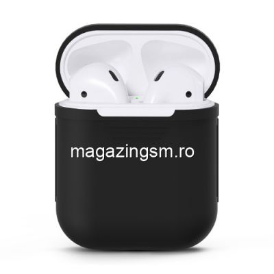 Husa Casti Handsfree Apple AirPods iPhone 7 Neagra