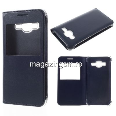 Husa Flip Cu Fereastra Samsung Galaxy J3 / J3 J320 Albastru Inchis