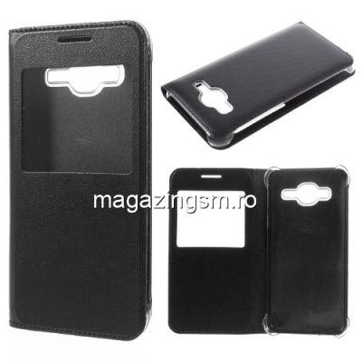 Husa Flip Cu Fereastra Samsung Galaxy J3 J320F Neagra