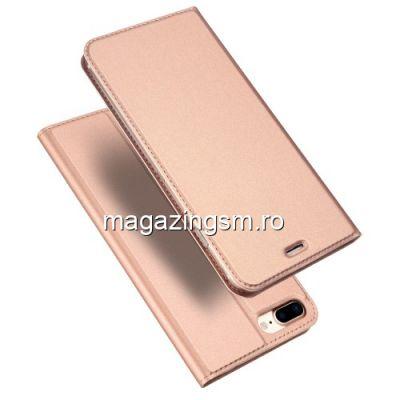 Husa Flip Cu Stand iPhone 8 Plus / 7 Plus Roz Aurie