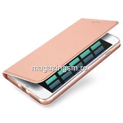 Husa Flip Cu Stand iPhone 7 Plus Roz Aurie