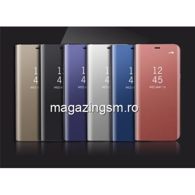 Husa Flip Cu Stand iPhone X / XS Tip Oglinda Neagra
