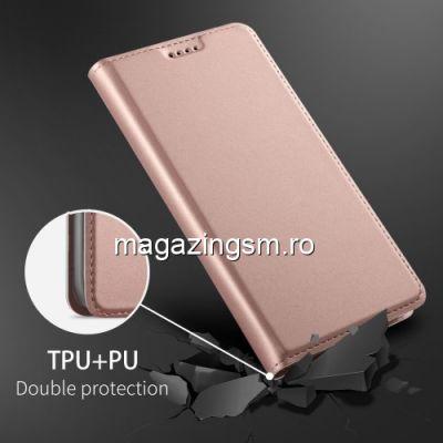Husa Flip Cu Stand iPhone X Roz Aurie