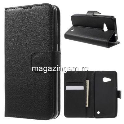 Husa Flip Cu Stand Microsoft Lumia 550 Lychee Neagra