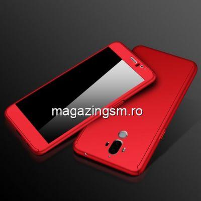 Husa Huawei Mate 9 Acoperire Completa 360 De Grade Cu Geam Protectie Display Matuita Rosie