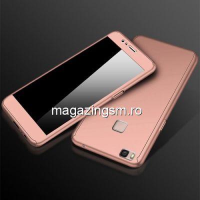 Husa Huawei P9 Lite Acoperire Completa 360 De Grade Cu Geam Protectie Display Matuita Roz Aurie