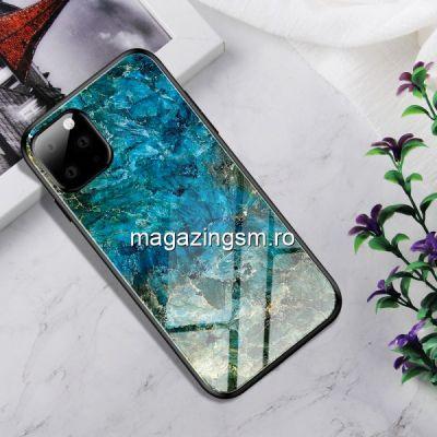 Husa iPhone 11 Cu Spate Din Sticla Albastra