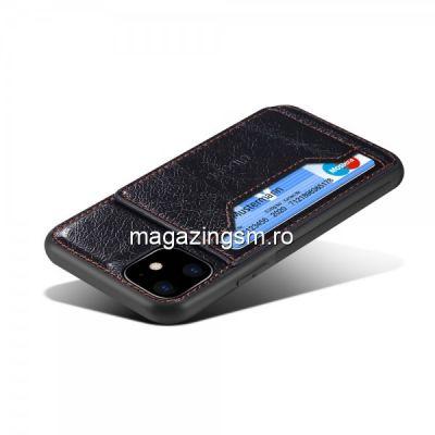 Husa Piele iPhone 11 Dura Cu Suport Card Neagra