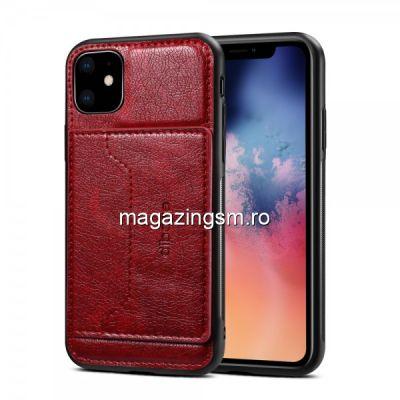 Husa Piele iPhone 11 Dura Cu Suport Card Rosie