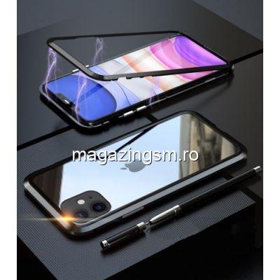 Husa iPhone 11 Magnetica Cu Spate Din Sticla Neagra