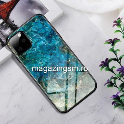Husa iPhone 11 Pro Max Cu Spate Din Sticla Albastra