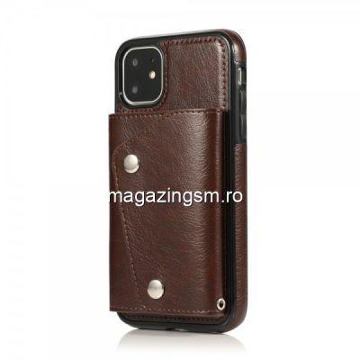 Husa Piele iPhone 11 Tip Portofel Maro