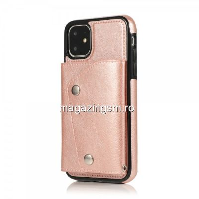 Husa iPhone 11 Tip Portofel Roz Auriu