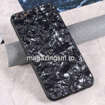 Husa iPhone 6s Plus / 6 Plus Cu Spate Din Sticla Neagra