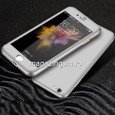 Husa iPhone 7 / 8 Acoperire Completa 360 De Grade Cu Geam Protectie Display Matuita Argintie
