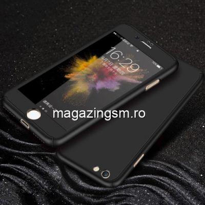 Husa iPhone 7 / 8 Acoperire Completa 360 De Grade Cu Geam Protectie Display Matuita Neagra