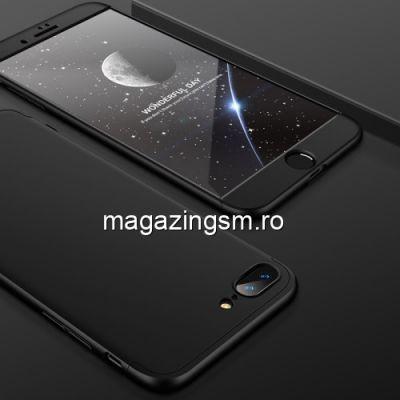 Husa iPhone 7 Plus Acoperire Completa 360 De Grade Cu Geam Protectie Display Matuita Neagra