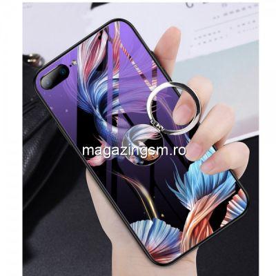 Husa iPhone 7 Plus / 8 Plus Cu Spate Din Sticla Albastra