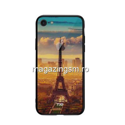 Husa iPhone 8 iPhone 7 TPU Cu Spate Din Sticla Multicolora Eiffel Tower