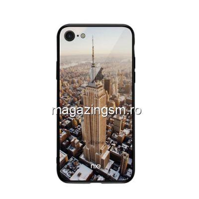 Husa iPhone 8 iPhone 7 TPU Cu Spate Din Sticla Multicolora New York Empire State Building