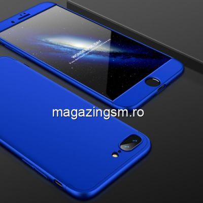 Husa iPhone 8 Plus / 7 Plus Acoperire Completa 360 De Grade Albastra