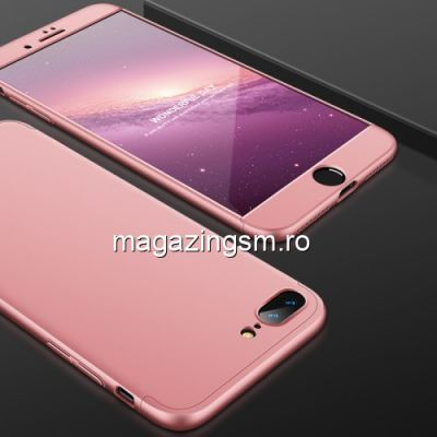Husa iPhone 8 Plus / 7 Plus Acoperire Completa 360 De Grade Roz Aurie