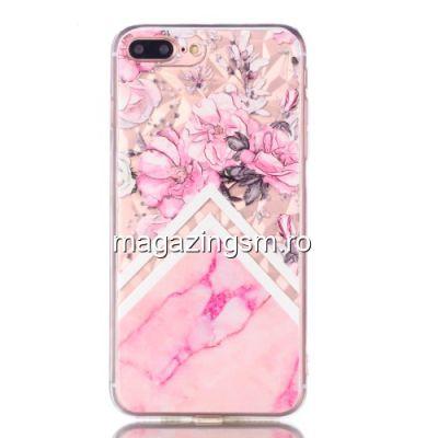 Husa iPhone 7 Plus TPU Marble Pattern Roz