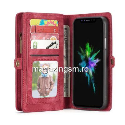 Husa iPhone X 2 in 1 Cu Portofel Rosie