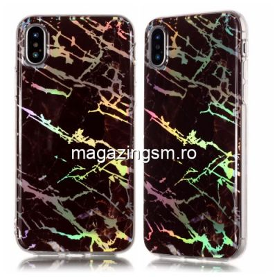 Husa iPhone XS TPU Marble Pattern Neagra