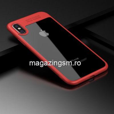 Husa iPhone X Transparenta cu Rama Rosie