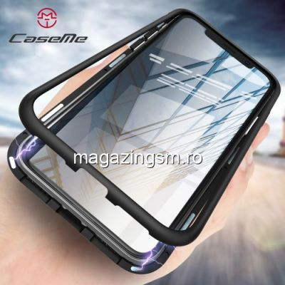 Husa iPhone X Xs Din Sticla Cu Rama Magnetica Detasabila Neagra