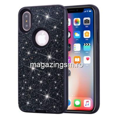 Husa iPhone X / XS TPU Cu Sclipici Neagra