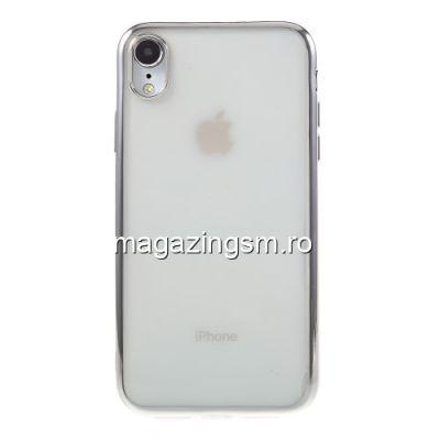 Husa iPhone XR TPU Transparenta Cu Margine Argintie