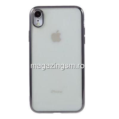 Husa iPhone XR TPU Transparenta Cu Margine Gri