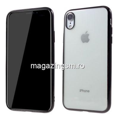 Husa iPhone XR TPU Transparenta Cu Margine Neagra