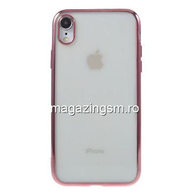 Husa iPhone XR TPU Transparenta Cu Margine Roz Aurie