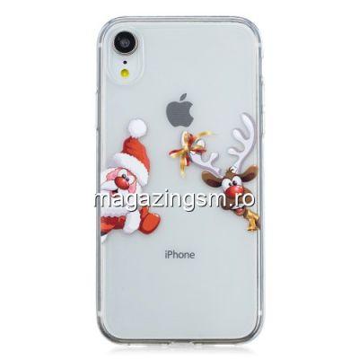 Husa iPhone XR TPU Transparenta Mos Craciun Si Rudolf
