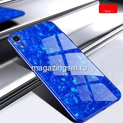 Husa iPhone XS Cu Spate Din Sticla Albastra